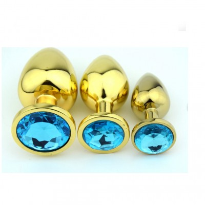 Metal Steel Anal Plug Butt Plugs Gold Color Large BDSM Gear Wholesale