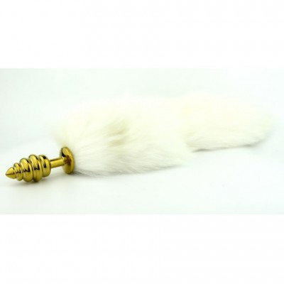 New Design Spirial Anal Plug Butt Plug with White Rabbit Fur Tail Two Colors