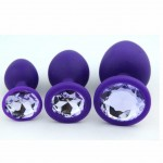 Silicone Anal Plug with Jewelry Base Purple Color New Design Fetish Sex Toy