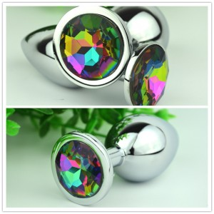 New Design Colorful Jewelry Base Mixed Color Crystal Metal Steel Anal Plug