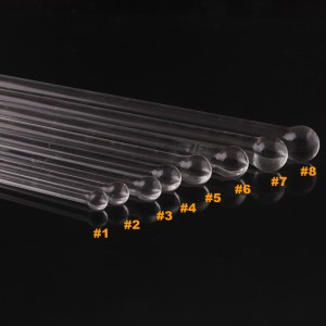 Crystal Glass Pyrex Catheter Sounds Urethral Enlarger Enhancer Dilator 8PCs