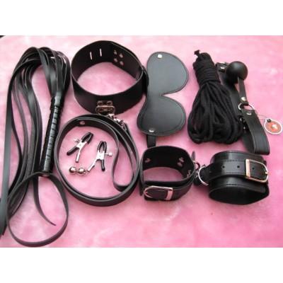 BDSMToys Sexy Black 7pcs Bondage Gear Set