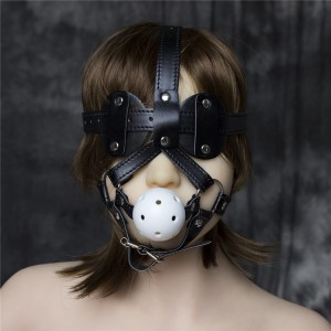Bondage Mouth Gags Harness with Eye Pads Ball Gag Head Straps Masks