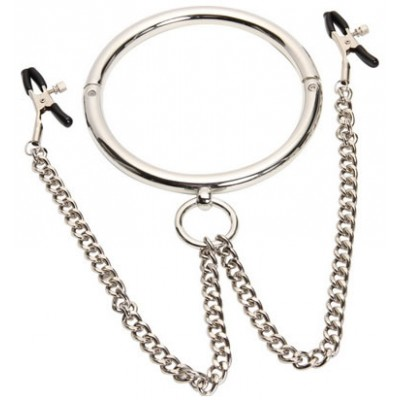 Bondage Gear Metal Slave Collar with Nipple Clamps for Female