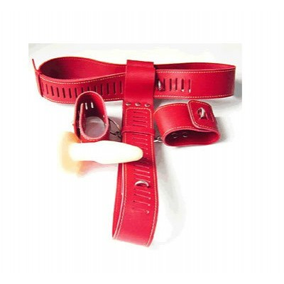 Leather Chastity Belt Hand Cuff Anal Plug Set (Red)