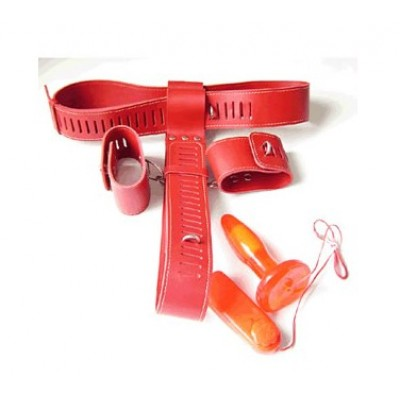 Leather Chastity Belt Hand Cuff Vibrating Anal Plug Set (Red)