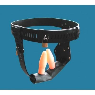 Female Chastity Belt With Dildo & Anal Plug