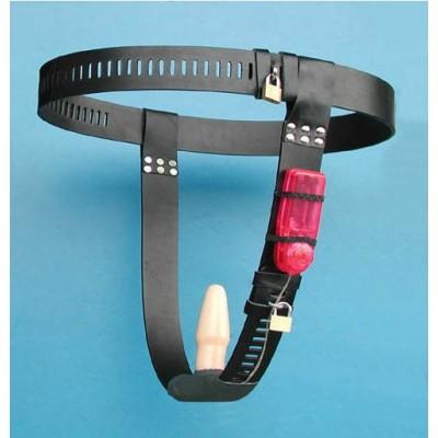 Female SM Toys Chastity Belt With Vibrating Dildo