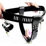 BDSM Bondage Gear Female Chastity Belt Sexy Leather Lingerie T Back with Vibrating Anal Plug and Wrist Cuffs