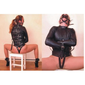 Black Body Bondage Set PU Leather Restraint Halter Binder BDSM Fetish Gear