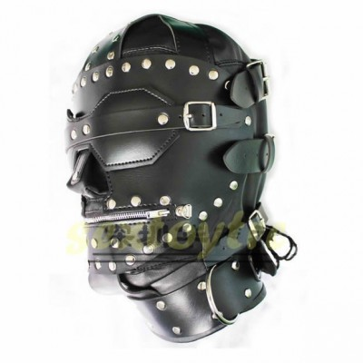 New Stud Design Fetish BDSM Bondage Gear Leather Hoods Muzzles