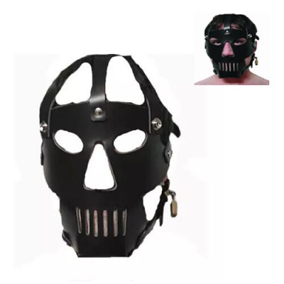 New Design BDSM Gear Hood Mighty Mask Muzzle Black Faux Leather