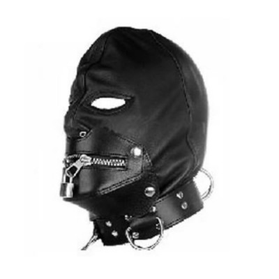 Gothic Black Leather Hood Muzzle with Collar Zip-Lock Bondage Fancy Dress