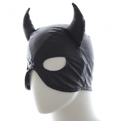 Leather GIMP Devil Mask Hood Muzzle BDSM Bondage Fetish Sex Play Toy