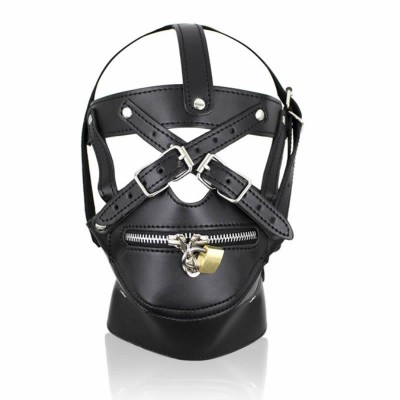 New Design Bondage Hood Head Mask Muzzle Harness & Zipper Lock