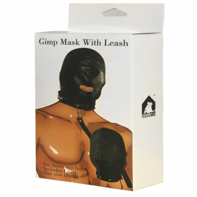 Leather Gimp Mask with Leash BDSM Bondage Gear Hood Muzzle