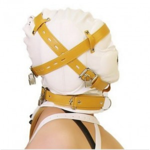 White Bondage Hood Deprivation Leather Muzzle Mask For Hear Restraint Dungeon