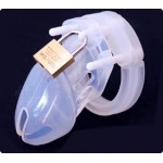 Pure Silicone Male Chastity Device Clear Men Cock Cage Bird Lock Penis Testicle Restrain
