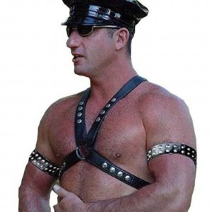 Male Sexy Leather Body Harness Bondage Chest Belt Straps with Arm Binders