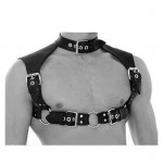 Men's Sexy Leather Neck Collar Male Body Chest Harness Straps Belts Buckle