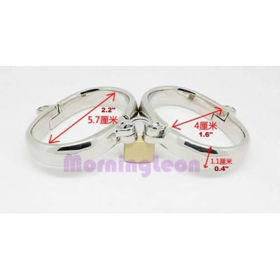 Quality Stainless Steel Wrist Cuffs Perfect Chrome Metal Bondage Gear for Female