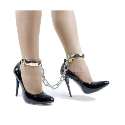 BDSM Metal Wrist Cuffs Handcuff with chain for Male and Female