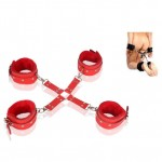 Bondage Gear Kit Leather Cross Ankle Wrist Cuffs Set Fesith Sex Toy