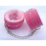 Bondage Gear Pink Velvet Leather Wrist Cuffs Fetish Sex Play Toys