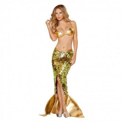 Female Sexy Mermaid Costumes Women Deluxe Fancy Dress Gold Color Uniform
