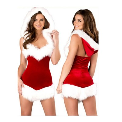 Female Sexy Christmas Xmas Santa Costumes with Hat Fancy Dress Red