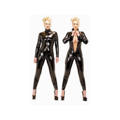 Dominatrix Female Leather Costume Sexy Lingerie Zipper Women Clubwear PVC