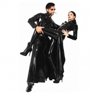 Sexy Leather Coat Long Cool PVC Look Costume for Male Female Unisex Style
