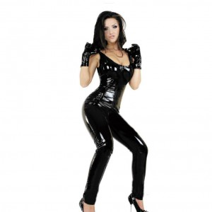 Female Sexy Leather Bodysuit Costume Open Crotch Dancewear Zipper PVC