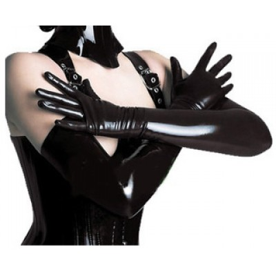Female Sexy Patent Leather Long Gloves