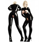 New Design Patent Leather Latex Costume Crotchless Open Breast Bodysuit Babydoll