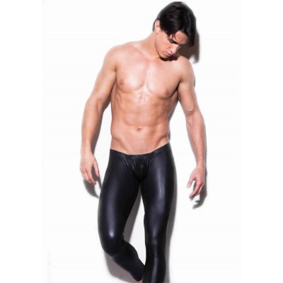 Male Sexy Cool Lingerie Leather Long Legging Pants Sretch Elastic Tight
