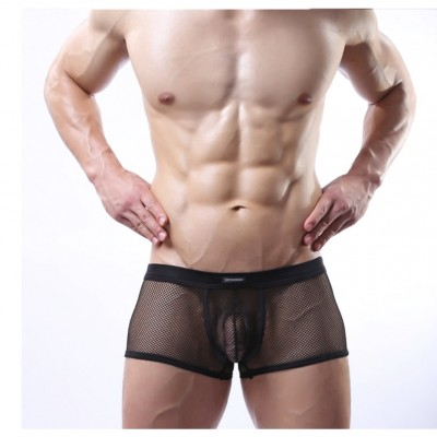 Male Sexy Lingerie Mesh Shorts Boxers See-through Underwear Sheer Brief