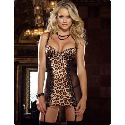 Lace Leopard Sleeping Robes Female Sexy Lace Lingerie with Garter Belt