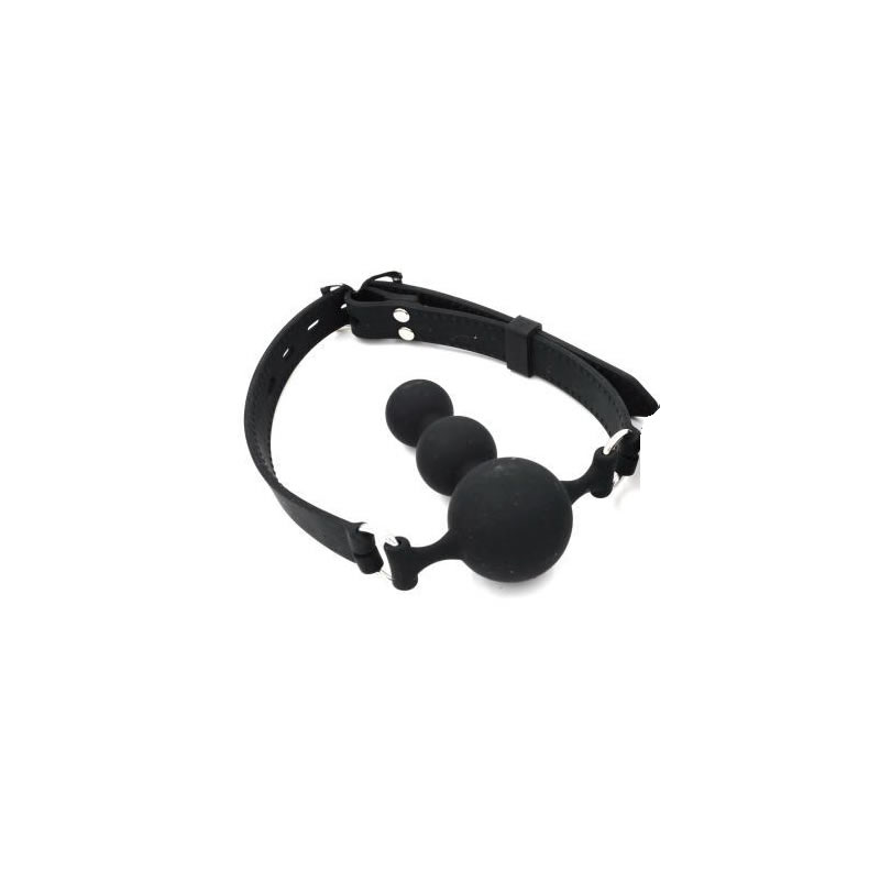 Mouth Ball Gag Silicone Black Gourd Shape Dildo Deep Throat Force Open