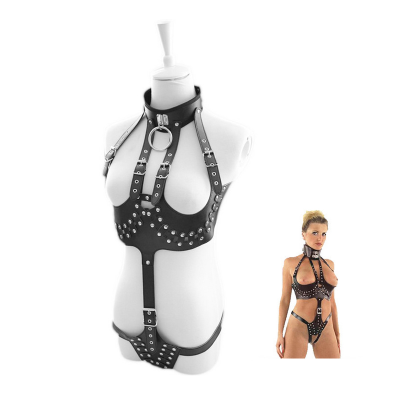 Sexy Open Crotch Breast Body Harness Crotchless Dominatri Costume