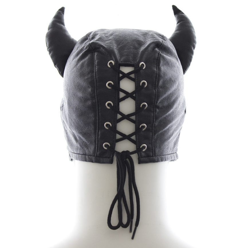 Leather GIMP Devil Mask Hood Muzzle BDSM Bondage Fetish Sex Play Toy Restraint Roleplay Cosplay Costume Party