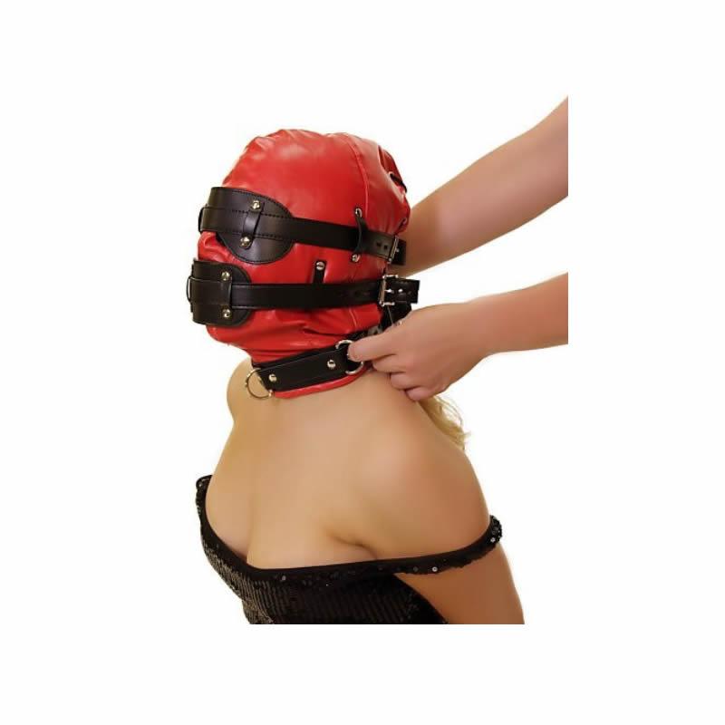 BDSM Bondage Mask With Sensorial Deprivation Hood For Head Restraint