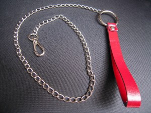 genuine leather metal chain accessory.