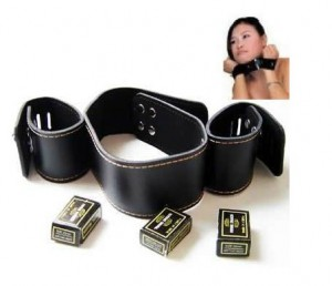 neck collar and hand restrain set.