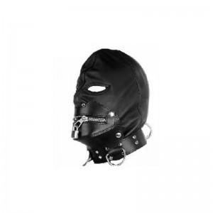 gothic bondage hood, leather bondage hood, bondage gear muzzle