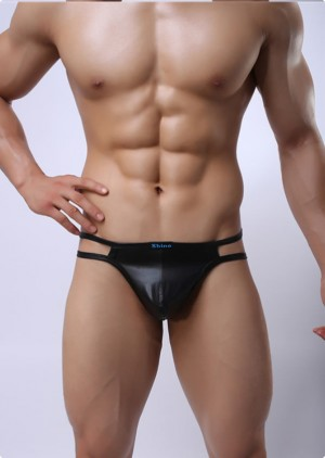Male leather t-back, male leather lingerie, male leather thong