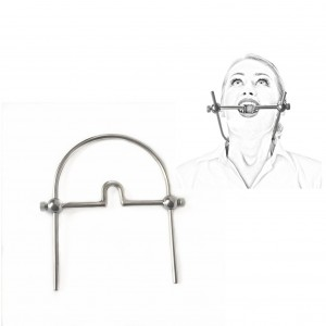 Metal Steel Mouth Gag Around Neck Bondage Gear Device Ball Gags Neck Collar Ring Open Mouth