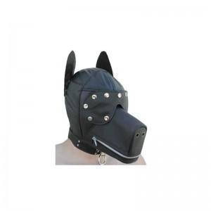 classic bondage dog hood for BDSM play.