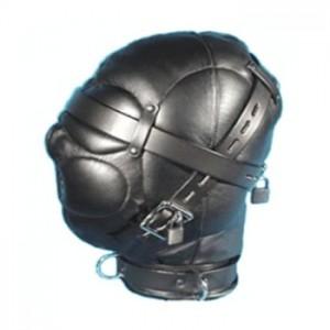 bondage gear zentai leather hood.