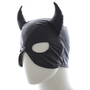 leather devil mask, bondage devil mask, devil mask costume
